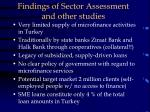 findings of sector assessment and other studies
