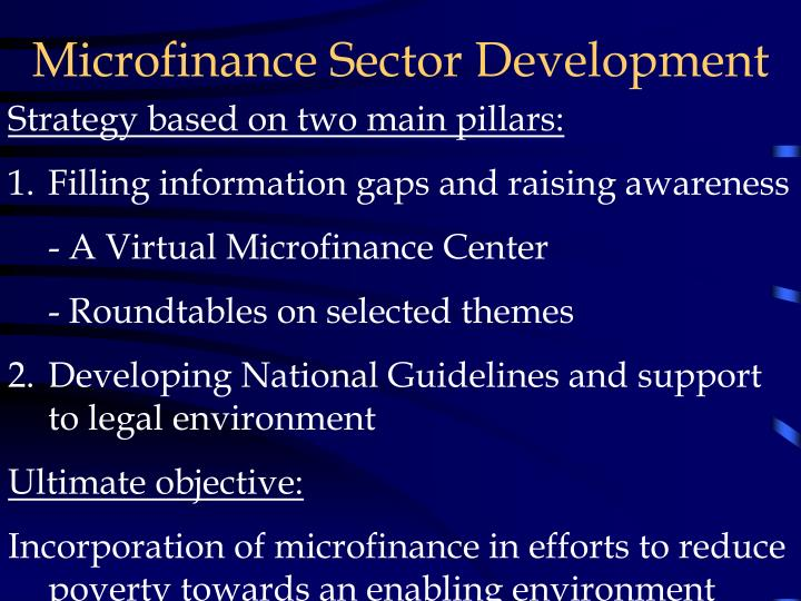 Microfinance Sector Development