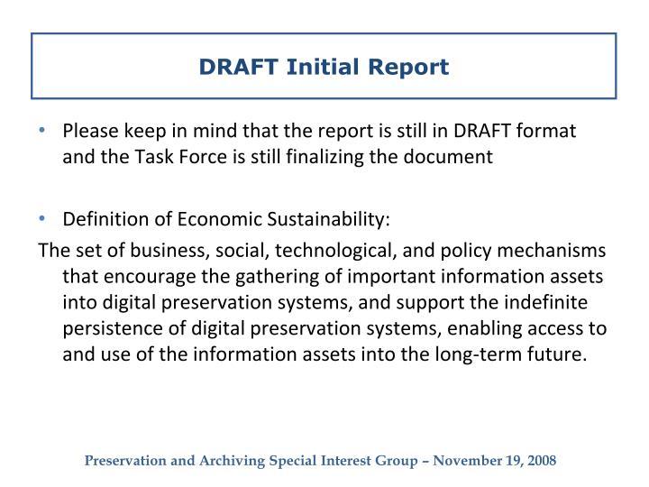 DRAFT Initial Report