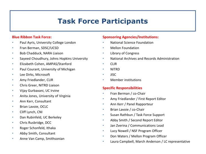 Task force participants