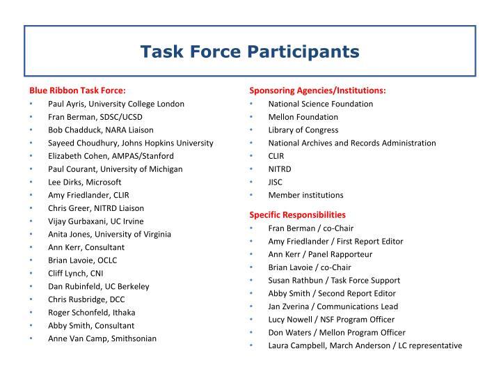 Task Force Participants