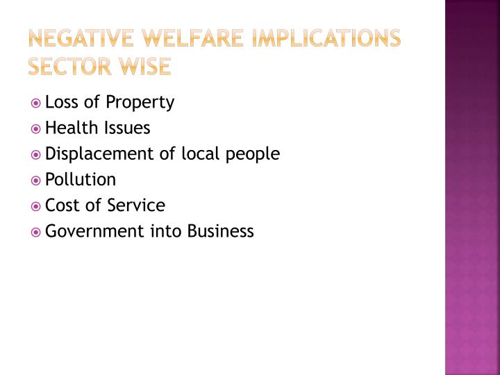 NEGATIVE WELFARE IMPLICATIONS SECTOR WISE
