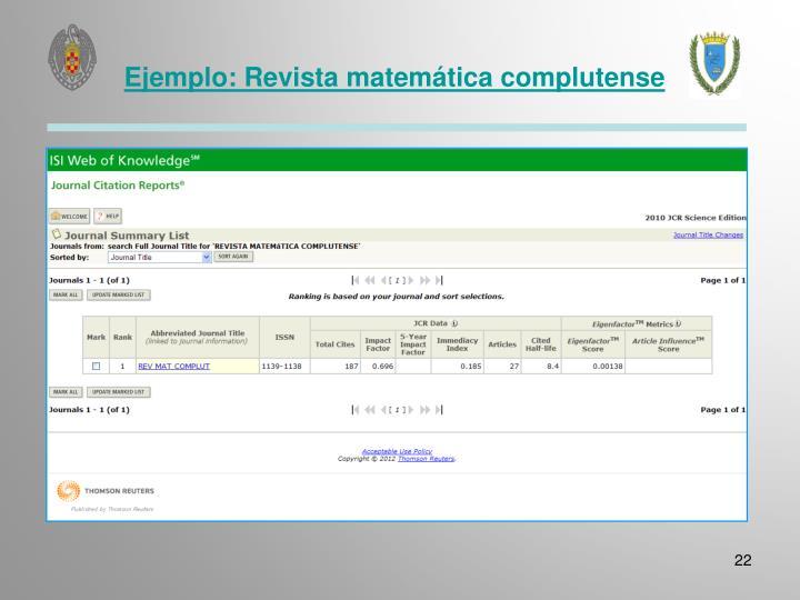 Ejemplo: Revista matemática complutense