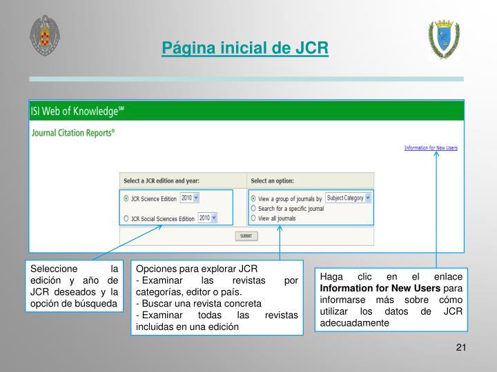 Página inicial de JCR