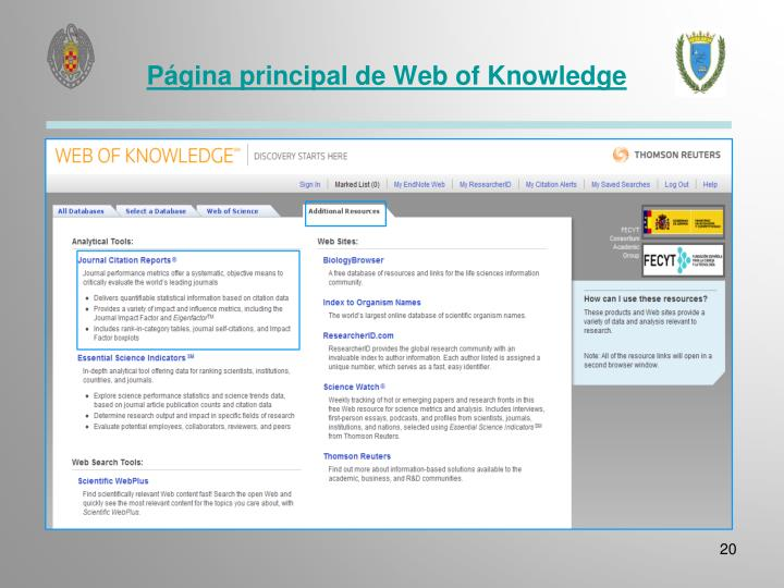Página principal de Web of Knowledge