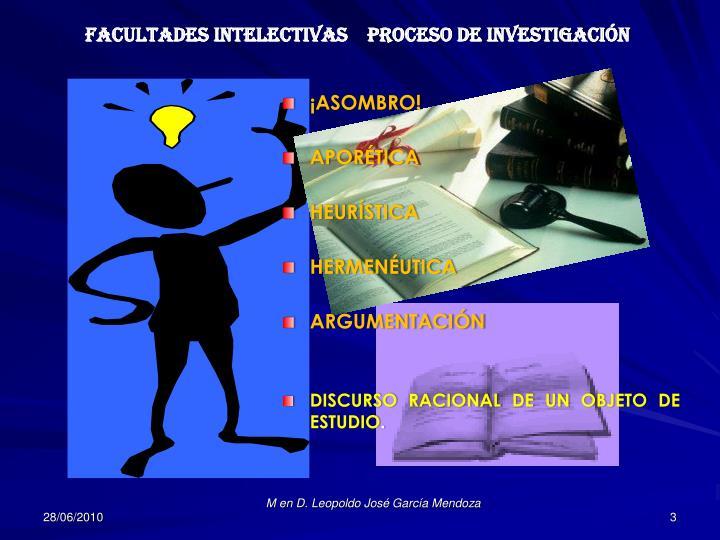 FACULTADES INTELECTIVAS    PROCESO DE INVESTIGACIÓN