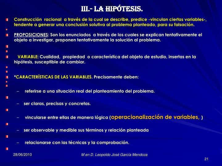 III.- LA HIPÓTESIS.