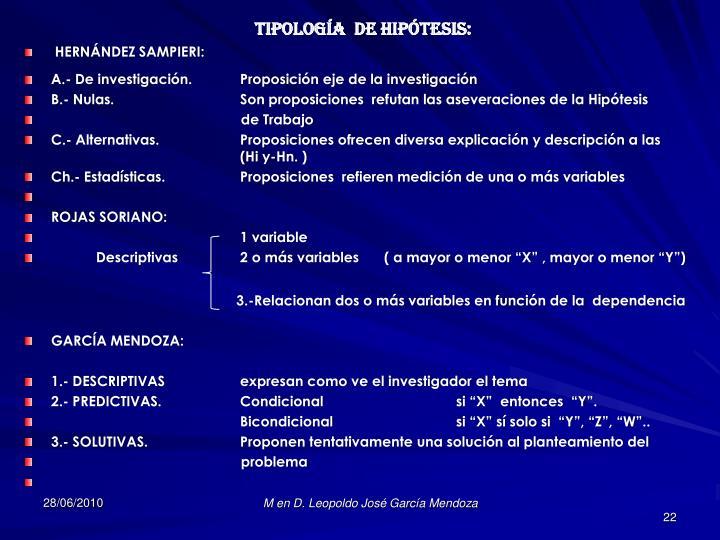 TIPOLOGÍA  DE HIPÓTESIS: