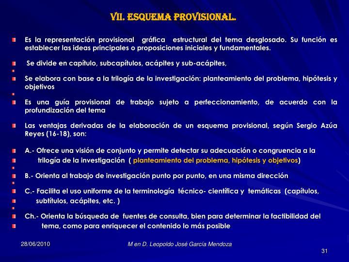 VII. Esquema Provisional.