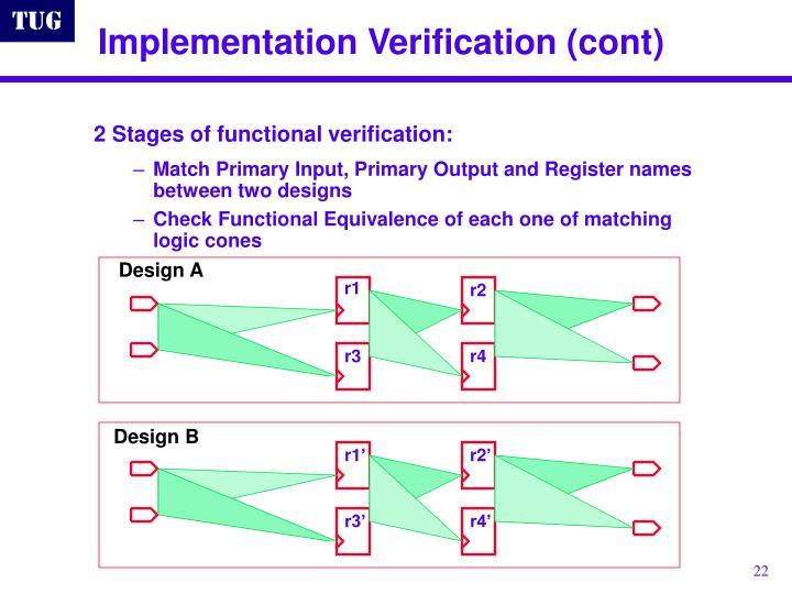 Implementation Verification (cont)