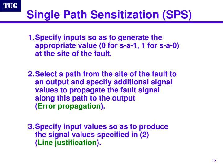 Single Path Sensitization (SPS)