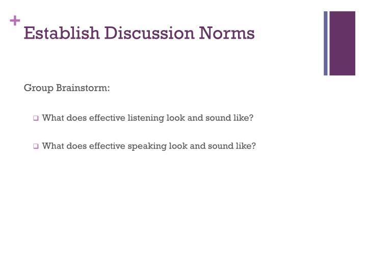 Establish Discussion Norms