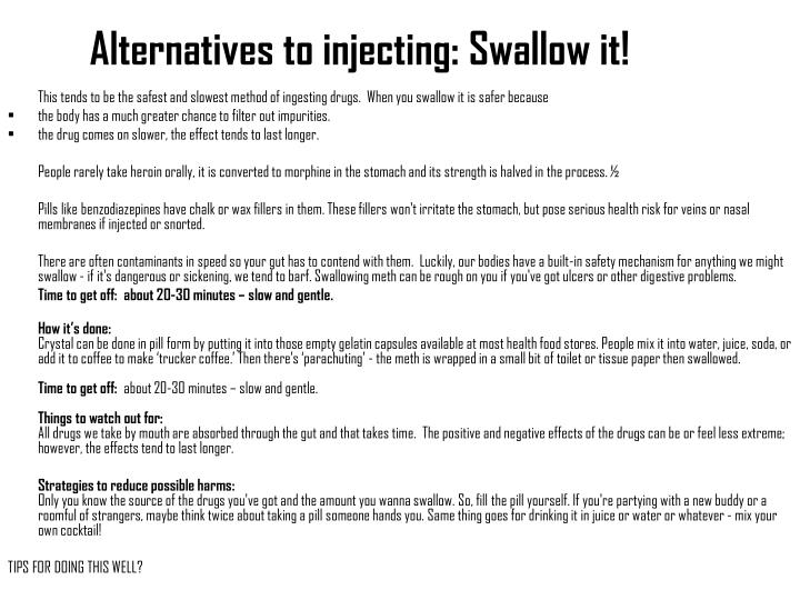 Alternatives to injecting: Swallow it!