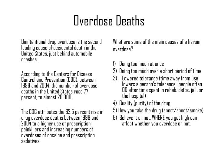 Unintentional drug overdose is the second leading cause of accidental death in the United States, just behind automobile crashes.