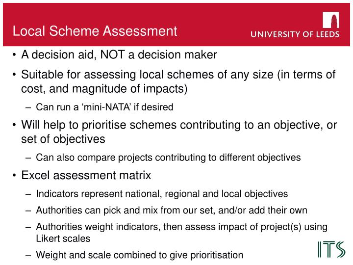 Local Scheme Assessment