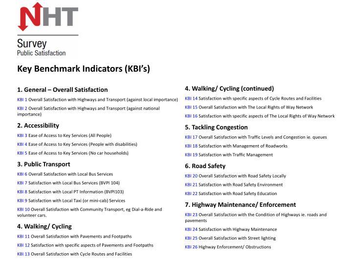 Key Benchmark Indicators (KBI's)