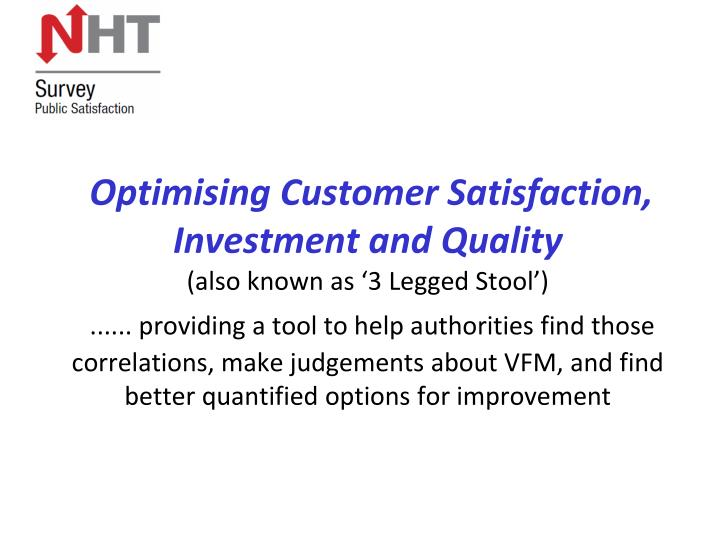 Optimising Customer Satisfaction, Investment and Quality
