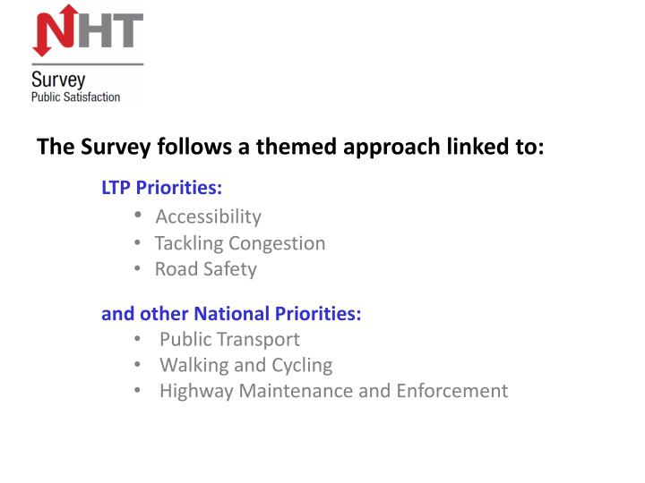 The Survey follows a themed approach linked to: