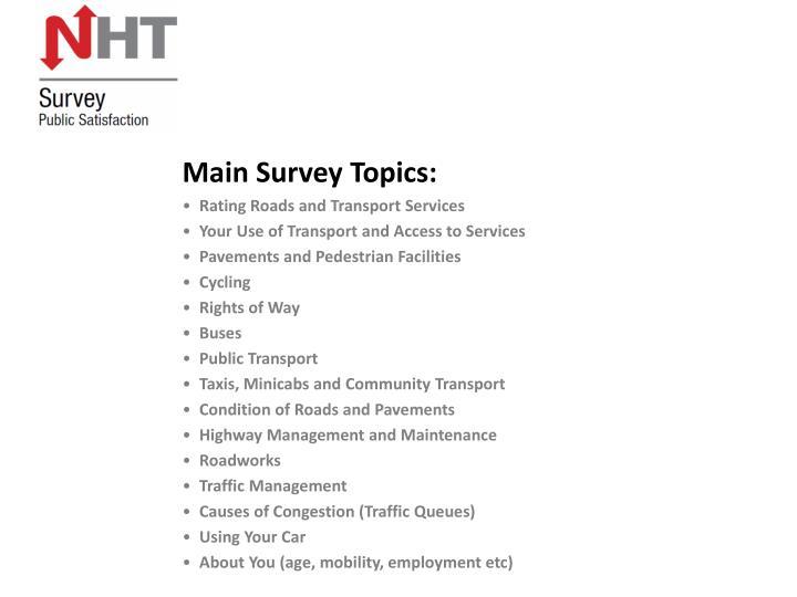 Main Survey Topics: