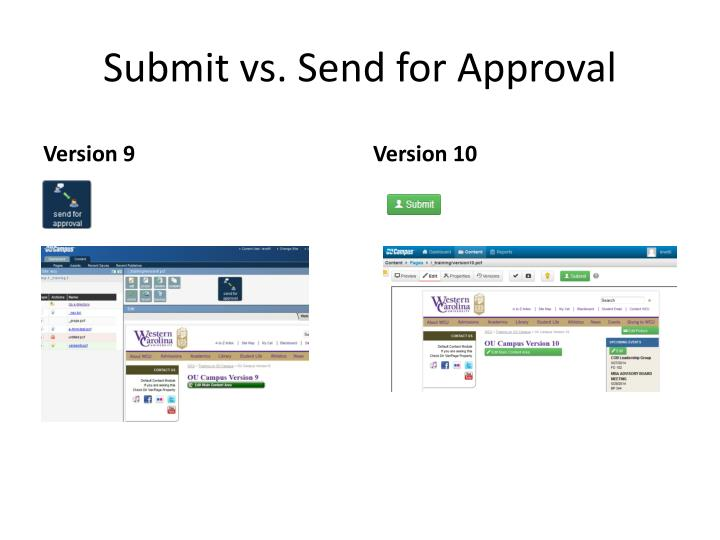Submit vs. Send for Approval
