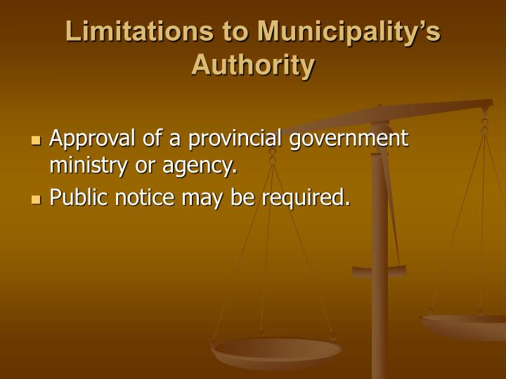Limitations to Municipality's Authority