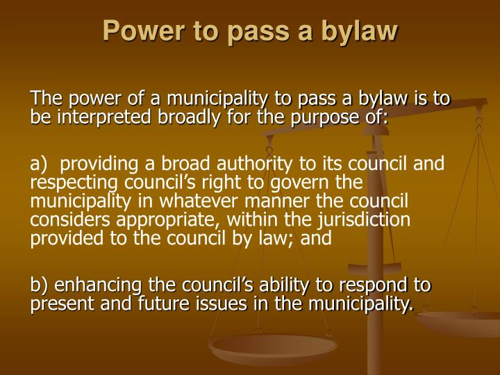 Power to pass a bylaw