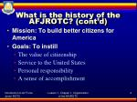 what is the history of the afjrotc cont d