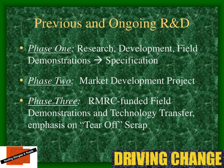 Previous and Ongoing R&D