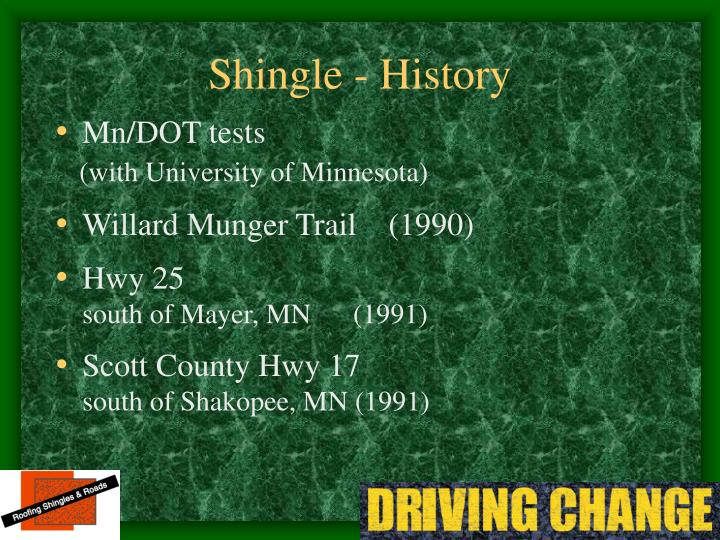 Shingle - History