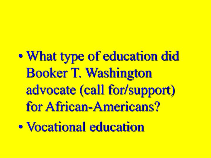 What type of education did Booker T. Washington advocate (call for/support) for African-Americans?
