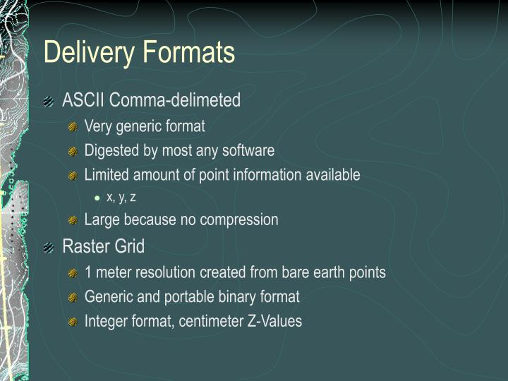 Delivery Formats