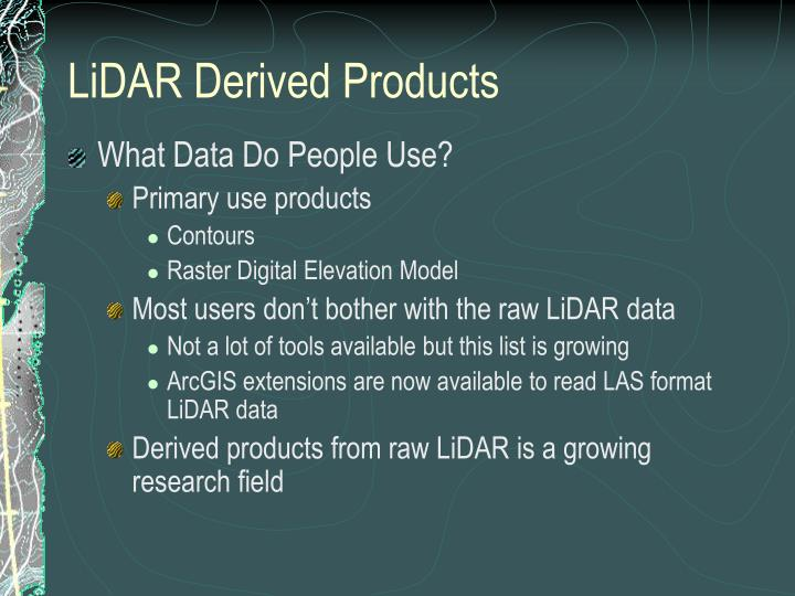 LiDAR Derived Products