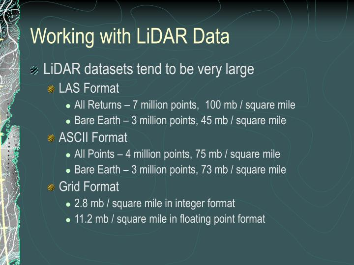 Working with LiDAR Data