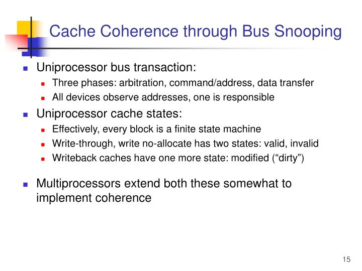 Cache Coherence through Bus Snooping