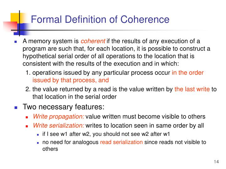 Formal Definition of Coherence