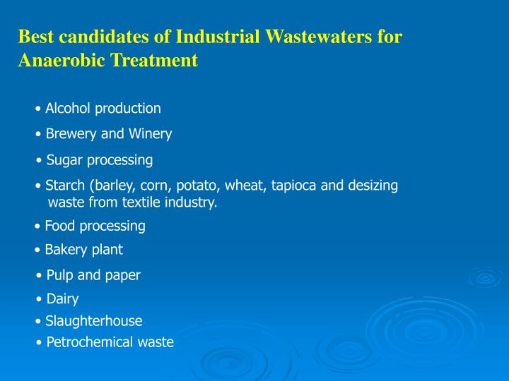 Best candidates of Industrial Wastewaters for Anaerobic Treatment