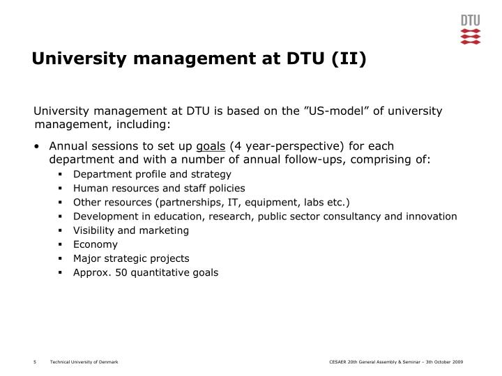 University management at DTU (II)