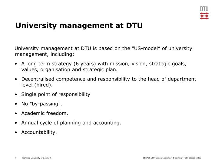 University management at DTU