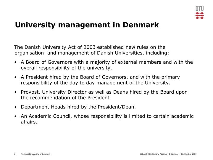 University management in denmark