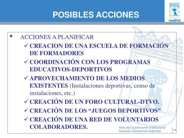 POSIBLES ACCIONES