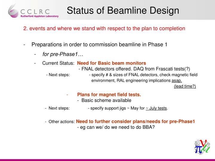 2. events and where we stand with respect to the plan to completion