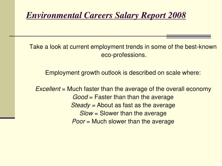 Environmental Careers Salary Report 2008