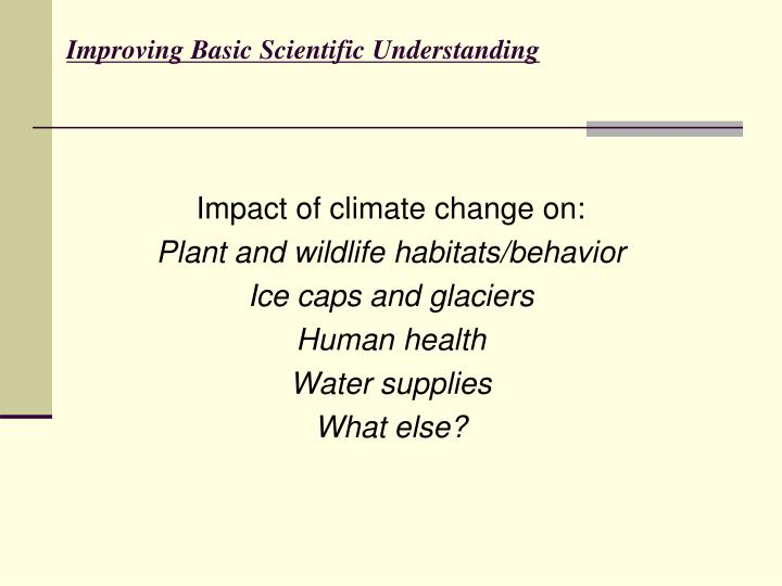 Improving Basic Scientific Understanding