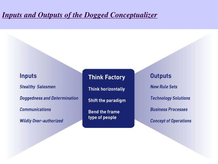 Inputs and Outputs of the Dogged Conceptualizer