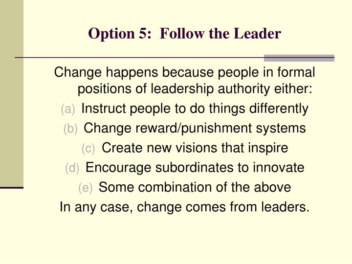 Option 5:  Follow the Leader