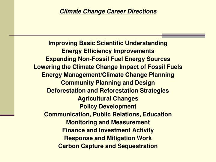 Climate Change Career Directions