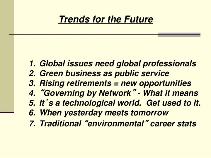 Trends for the Future
