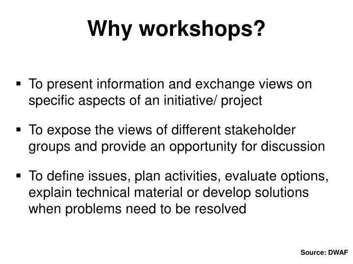 Why workshops?