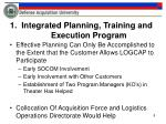 1 integrated planning training and execution program