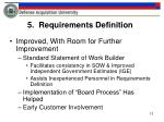 5 requirements definition